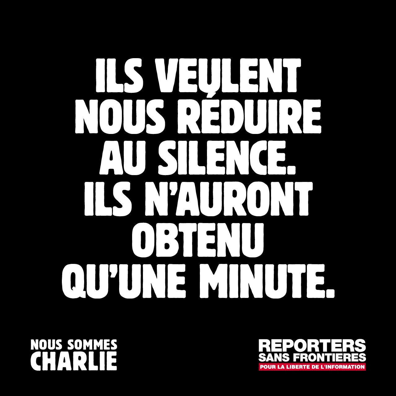 «Ils veulent nous réduire au silence. Ils n'auront obtenu qu'une minute» by RSF/BETC #thanks
