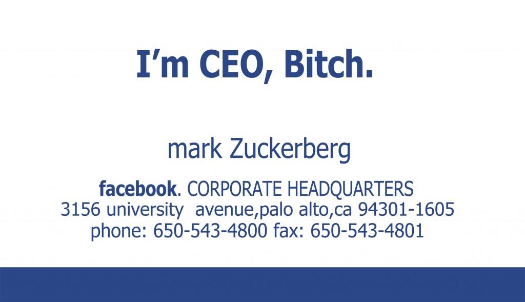 La première carte de visite de Mark Zuckerberg chez Facebook
